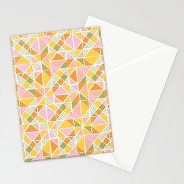 Cute Citrus Geometric Quilt Design Pattern Stationery Cards