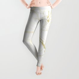 Paris Gold and White Street Map II Leggings