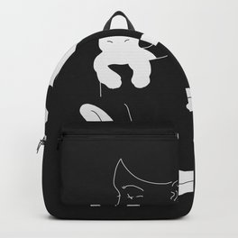 Girl with White Cat and Plants / Line Art Backpack