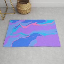 Abstract Desert Blues Rug