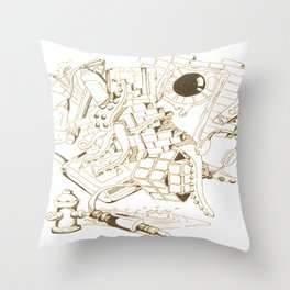 Vintage Collage of Thoughts Throw Pillow