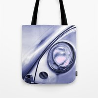 volkswagon Tote Bags featuring VW Beetle Classic by Martin Williams