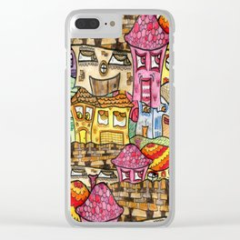 Suburbia watercolor collage Clear iPhone Case