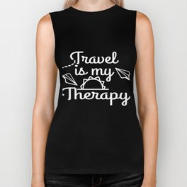 Traveler? Loves to Travel? Independence With Therapy. Get up, get better, get here! Let's Travel! Biker Tank