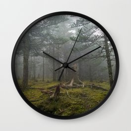 A Misty Evergreen Forest in China Wall Clock