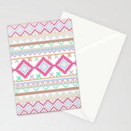 Pink teal Aztec Tribal Diamond geometric Pattern Stationery Cards