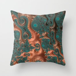 Copper Leaves - Fractal Art Throw Pillow