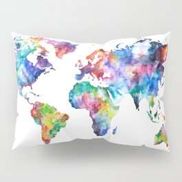 World Map Watercolor Painting Pillow Sham