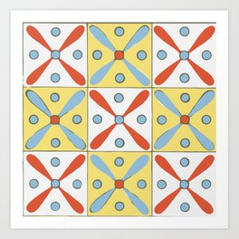 Vintage Decorative Geometric Pattern Design Yellow Blue Red Art Print