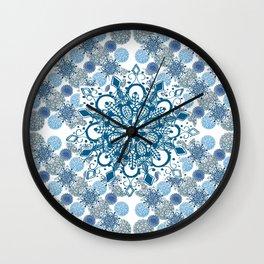 Blue Rhapsody Patterned Mandalas Wall Clock
