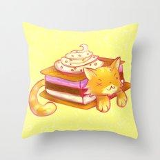 Ice sandwich cat Throw Pillow