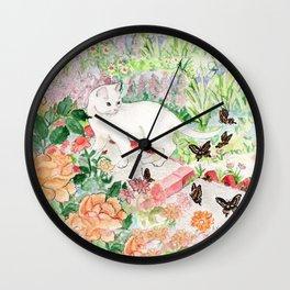 White Cat in a Garden Wall Clock