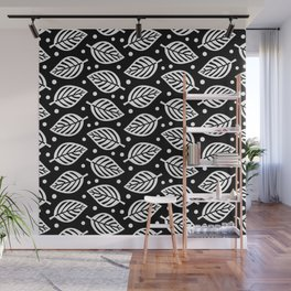 Mid Century Modern Falling Leaves Black and White Wall Mural