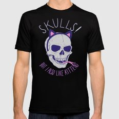 Skulls and Kittens Black Mens Fitted Tee LARGE