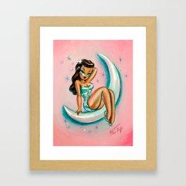 Glamour Girl on the Moon Framed Art Print