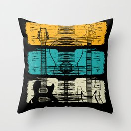 Vintage Pluck Strum Guitar Instrument Throw Pillow