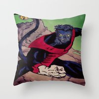 nightcrawler Throw Pillows featuring The Amazing Nightcrawler by mataspey86