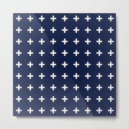 Indigo Navy Blue Cross Plus Metal Print