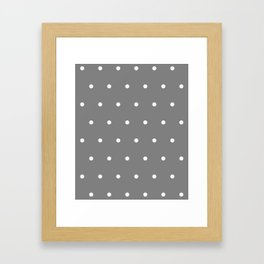 Grey With White Polka Dots Pattern Framed Art Print