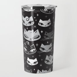 Rockabilly Cats with Pompadours Travel Mug