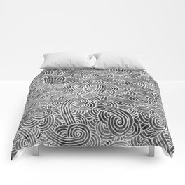 Grey and white swirls doodles Comforters