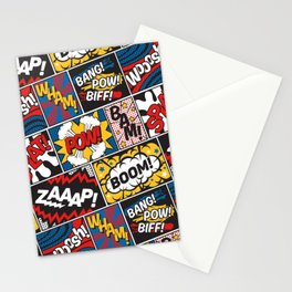 Modern Comic Book Superhero Pattern Color Colour Cartoon Lichtenstein Pop Art Stationery Cards