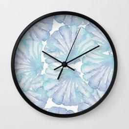 Shell Ya Later - Turquoise Seashell Pattern Wall Clock