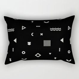 Silver and Black geometric shapes pattern Rectangular Pillow