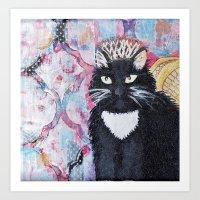 Black angel cat Art Print