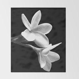 White Flowers Black Background Throw Blanket