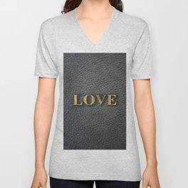 LOVE black leather gold letters Unisex V-Neck