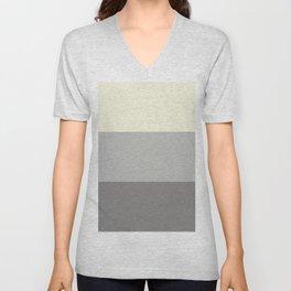 Benjamin Moore 2019 Color of Year Metropolitan, Lemon Chiffon 932 & Cinder Dark Gray 3 Bold Stripes Unisex V-Neck