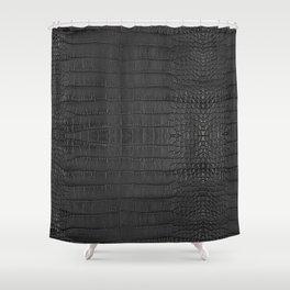 Alligator Black Leather Shower Curtain