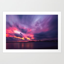 Vibrant explosion of color at Sunset at Anse Vata Bay in Noumea Art Print