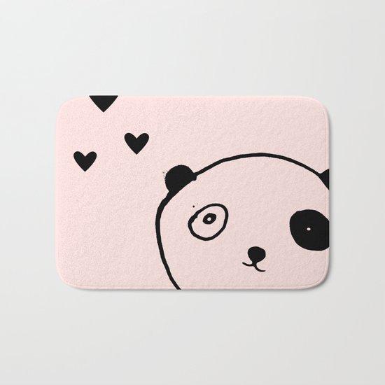 Panda in love pink Bath Mat