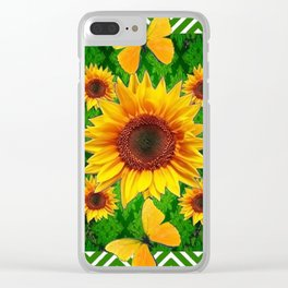 Green Yellow Butterflies Sunflowers Flowers  Art Clear iPhone Case