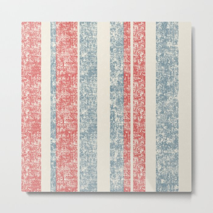 Maritime Navy Stripes Stripe in Red White Blue-Vertical on #Society6 Metal Print