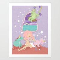 unicorns Art Prints featuring Unicorns by Carina