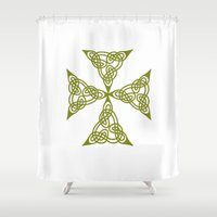 marc johns Shower Curtains featuring Lindisfarne St Johns Knot Grunge by taiche