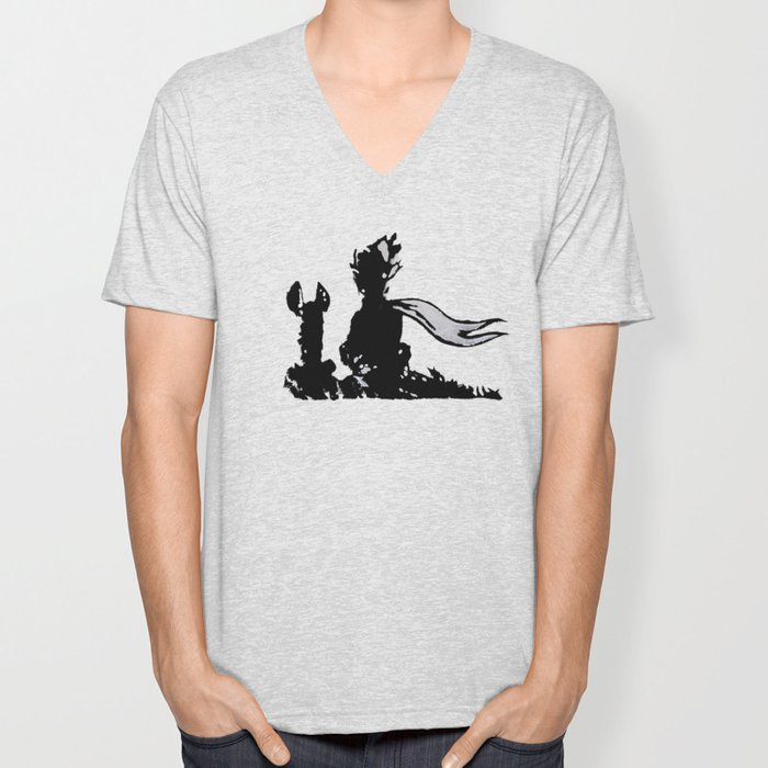 The little prince and the fox - stencil for the LIFE CURRENT WALL series Unisex V-Neck