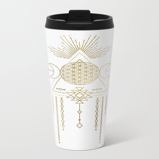 Golden Goddess Mandala Metal Travel Mug
