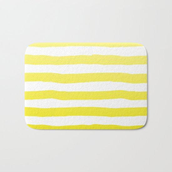 Sun Yellow Handdrawn horizontal Beach Stripes - Mix and Match with Simplicity of Life Bath Mat