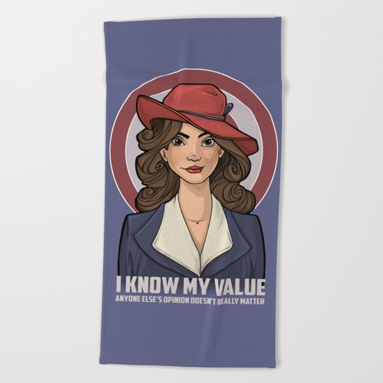I Know My Value Beach Towel