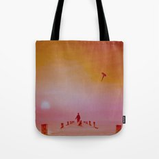 Boy with kite and dog Tote Bag