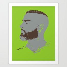 Bearded Man I - Green Art Print