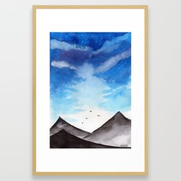 Blue Landscape with mountain Framed Art Print