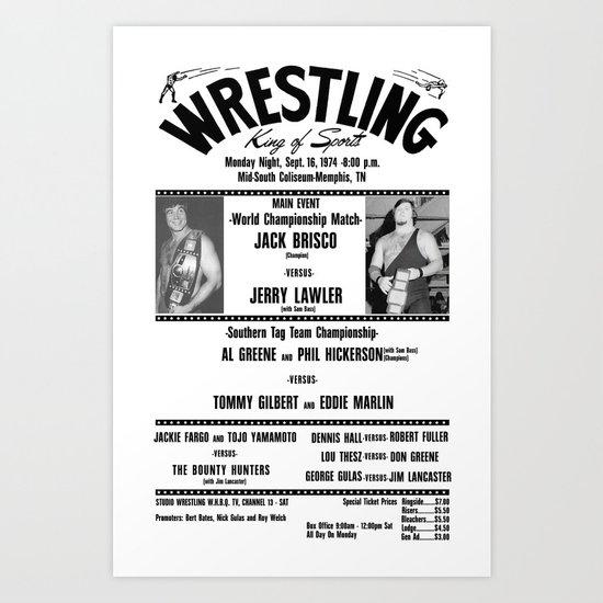 #1 Memphis Wrestling Window Card Art Print