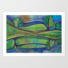 Blue Green Echo Art Print