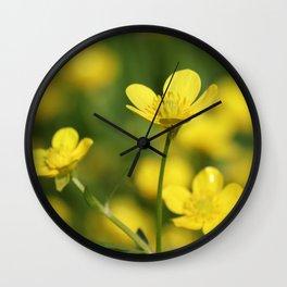 Golden Petals Wall Clock
