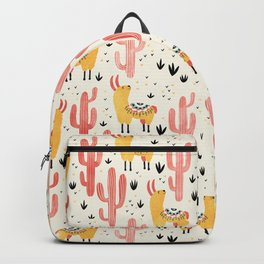 Yellow Llamas Red Cacti Backpack